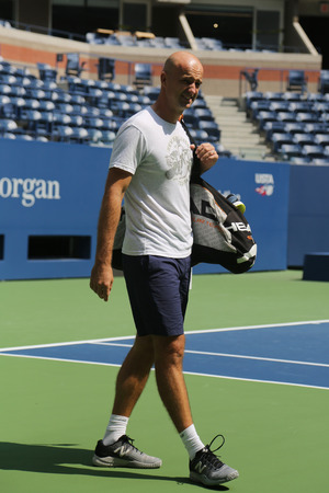 NEW YORK - AUGUST 22, 2017: Roger Federers coach Ivan Ljubicic during practice for US Open 2017 at Billie Jean King National Tennis Center in New York