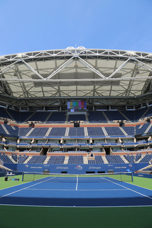 NEW YORK - AUGUST 22, 2017: Arthur Ashe Stadium with finished retractable roof at the Billie Jean King National Tennis Center ready for US Open 2017 tournament in Flushing, NY