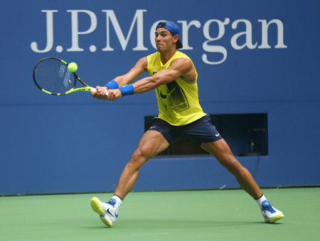 fifteen: NEW YORK - AUGUST 22, 2017: Fifteen times Grand Slam Champion Rafael Nadal of Spain practices for US Open 2017 at Billie Jean King National Tennis Center in New York
