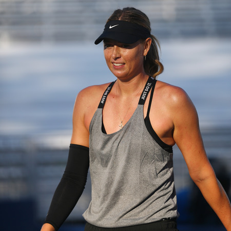 NEW YORK - AUGUST 23, 2017: Five times Grand Slam Champion Maria Sharapova of Russian Federation practices for US Open 2017 at Billie Jean King National Tennis Center in New York