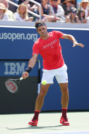 NEW YORK - AUGUST 23, 2017: Nineteen times Grand Slam Champion Roger Federer of Switzerland practices for US Open 2017 at Billie Jean King National Tennis Center in New York