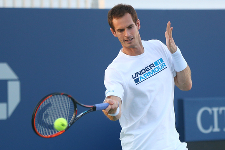 ongoing: NEW YORK - AUGUST 23, 2017: Grand Slam Champion Andy Murray practices for US Open 2017 at Billie Jean King National Tennis Center. 3 days later Andy Murray withdraws because of ongoing hip injury