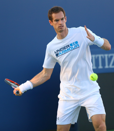 NEW YORK - AUGUST 23, 2017: Grand Slam Champion Andy Murray practices for US Open 2017 at Billie Jean King National Tennis Center. 3 days later Andy Murray withdraws because of ongoing hip injury