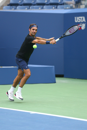 NEW YORK - AUGUST 22, 2017: Nineteen times Grand Slam Champion Roger Federer of Switzerland practices for US Open 2017 at Billie Jean King National Tennis Center in New York