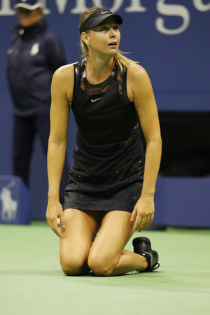 NEW YORK - AUGUST 28, 2017: Five times Grand Slam Champion Maria Sharapova of Russia celebrates victory after her US Open 2017 first round match at Billie Jean King National Tennis Center in New York
