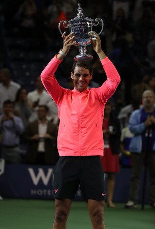 NEW YORK CITY - SEPTEMBER 10, 2017: US Open 2017 champion Rafael Nadal of Spain posing with US Open trophy during trophy presentation after his final match victory against Kevin Andersen