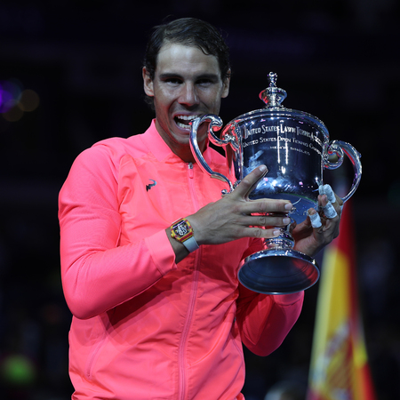 NEW YORK  - SEPTEMBER 10, 2017: US Open 2017 champion Rafael Nadal of Spain posing with US Open trophy during trophy presentation after his final match victory against Kevin Andersen Editorial