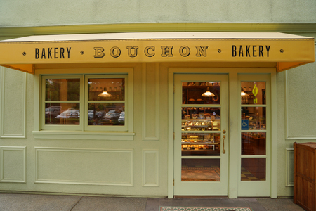 YOUNTVILLE, CALIFORNIA - SEPTEMBER 20, 2017: The Bouchon Bakery in Yountville, Napa Valley. French-style bakery from chef Thomas Keller offering pastries plus sandwiches, coffee and courtyard