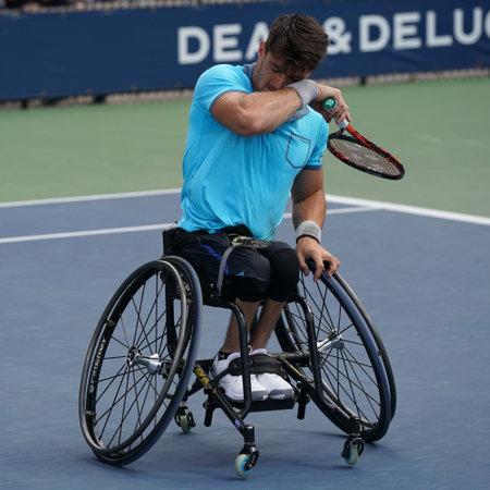 NEW YORK - SEPTEMBER 9, 2017: Argentinian wheelchair tennis player Gustavo Fernandez in action during US Open 2017 Wheelchair Mens Singles semifinal at Billie Jean King National Tennis Center Editorial