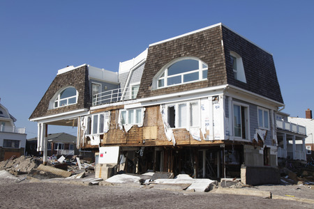 FAR ROCKAWAY, NEW YORK - NOVEMBER 11, 2012: Destroyed beach house in the aftermath of Hurricane Sandy in Far Rockaway, New York. Image taken 12 days after Superstorm Sandy hit New York