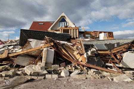 FAR ROCKAWAY, NEW YORK - NOVEMBER 4, 2012: Destroyed beach house in the aftermath of Hurricane Sandy in Far Rockaway, New York. Image taken 5 days after Superstorm Sandy hit New York