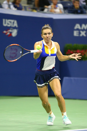 NEW YORK - AUGUST 28, 2017: Professional tennis player Simona Halep of Romania in action during her US Open 2017 first round match at Billie Jean King National Tennis Center in New York Editorial
