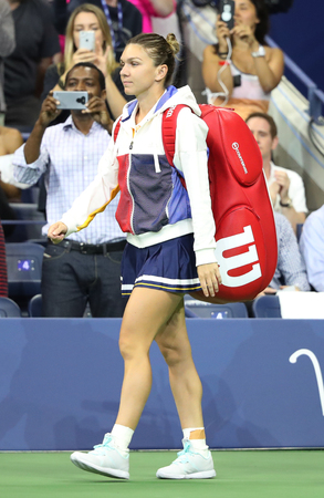 NEW YORK - AUGUST 28, 2017: Professional tennis player Simona Halep of Romania enters Arthur Ashe Stadium  before her US Open 2017 first round match at Billie Jean King National Tennis Center Editorial