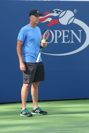 NEW YORK - AUGUST 23, 2017: Tennis coach Darren Cahill coaches professional tennis player Simona Halep of Romania for US Open 2017 at Billie Jean King National Tennis Center Editorial