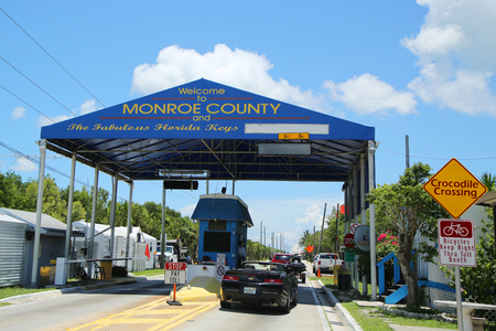 KEY WEST, FLORIDA - MAY 29, 2016: Entrance to Florida Keys Card Sound Road tall booth in Monroe County, Florida. It connecting southern Miami-Dade County and northern Monroe County Editorial