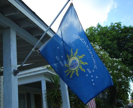 KEY WEST, FLORIDA - MAY 30, 2016: Conch Republic flag in Key West, Florida