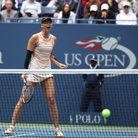 NEW YORK - SEPTEMBER 3, 2017: Five times Grand Slam Champion Maria Sharapova of Russia in action during her 2017 US Open round 4 match at Billie Jean King National Tennis Center in New York