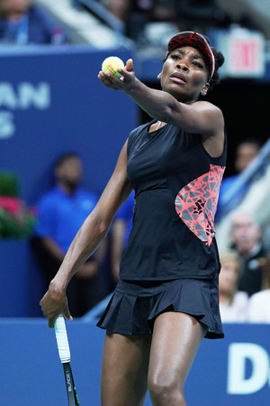 NEW YORK - SEPTEMBER 7, 2017: Grand Slam champion Venus Williams of United States in action during her semifinal match at 2017 US Open at Billie Jean King National Tennis Center in New York