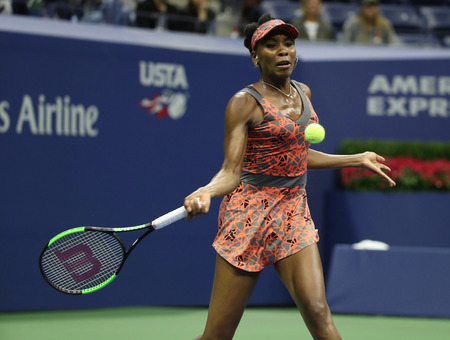 NEW YORK - SEPTEMBER 3, 2017: Grand Slam champion Venus Williams of United States in action during her round 4 match at 2017 US Open at Billie Jean King National Tennis Center in New York Editorial
