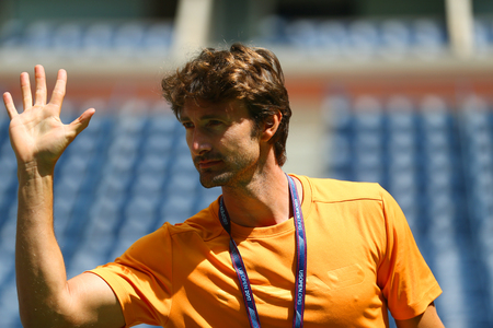 NEW YORK - AUGUST 27, 2017: Tennis coach Juan Carlos Ferrero coaches professional tennis player Alexander Zverev of Germany for US Open 2017 at Billie Jean King National Tennis Center