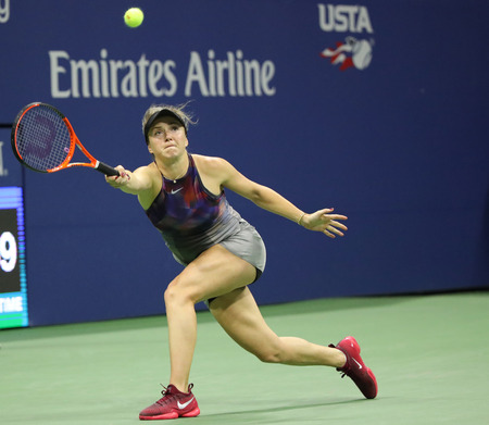 grand hard: NEW YORK - SEPTEMBER 4, 2017: Professional tennis player Elina Svitolina of Ukraine in action during her US Open 2017 round 4 match at Billie Jean King National Tennis Center