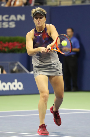 NEW YORK - SEPTEMBER 4, 2017: Professional tennis player Elina Svitolina of Ukraine in action during her US Open 2017 round 4 match at Billie Jean King National Tennis Center