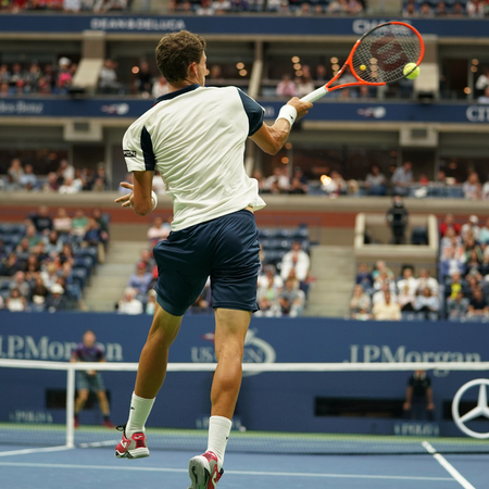 grand hard: NEW YORK - SEPTEMBER 3, 2017: Professional tennis player Pablo Carreno Busta of Spain in action during his round 4 match at 2017 US Open at Billie Jean King National Tennis Center in New York