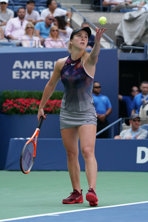 NEW YORK - AUGUST 31, 2017: Professional tennis player Elina Svitolina of Ukraine in action during her US Open 2017 second round match at Billie Jean King National Tennis Center