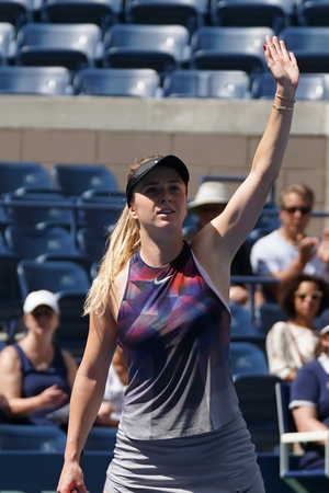 NEW YORK - AUGUST 31, 2017: Professional tennis player Elina Svitolina of Ukraine celebrates victory after her US Open 2017 second round match at Billie Jean King National Tennis Center Editorial