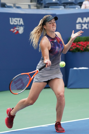 grand hard: NEW YORK - AUGUST 31, 2017: Professional tennis player Elina Svitolina of Ukraine in action during her US Open 2017 second round match at Billie Jean King National Tennis Center