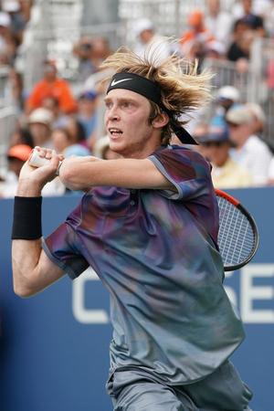 NEW YORK - AUGUST 31, 2017: Professional tennis player Andrey Rublev of Russia in action during his US Open 2017 second round match at Billie Jean King National Tennis Center Editorial