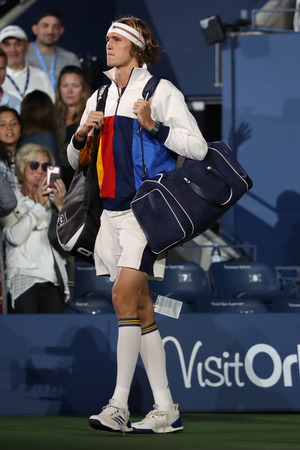NEW YORK - AUGUST 28, 2017: Professional tennis player Alexander Zverev of Germany enters Arthur Ashe Stadium before his 2017 US Open first round match at Billie Jean King National Tennis Center Editorial