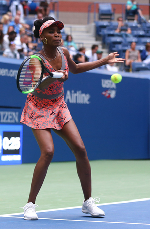 grand hard: NEW YORK - AUGUST 28, 2017: Grand Slam champion Venus Williams of United States in action during her first round match at 2017 US Open at Billie Jean King National Tennis Center in New York Editorial