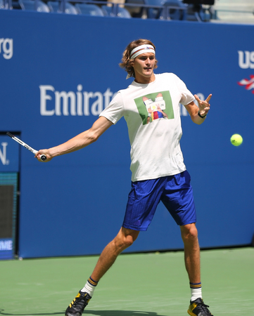 NEW YORK - AUGUST 27, 2017: Professional tennis player Alexander Zverev of Germany in practice for 2017 US Open at Billie Jean King National Tennis Center