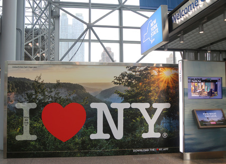 NEW YORK - OCTOBER 26, 2017: New York State promotional advertising during Photoplus conference and expo at Javits Convention Center in New York