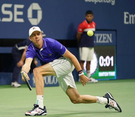 NEW YORK - SEPTEMBER 5, 2017: Professional tennis player Sam Querrey of United States in action during his US Open 2017 quarterfinal match at Billie Jean King National Tennis Center
