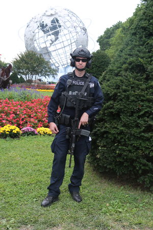 NEW YORK - SEPTEMBER 2, 2017: NYPD counter terrorism officers providing security at National Tennis Center during US Open 2017 in New York