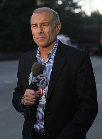 NEW YORK - OCTOBER 31, 2017: ABC7 Eyewitness News TV reporter near terror attack crime scene in lower Manhattan in New York. Editorial