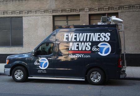 NEW YORK - OCTOBER 31, 2017: WABC Channel 7 Eyewitness news van near terror attack crime scene in lower Manhattan in New York. Editorial