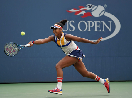 NEW YORK - SEPTEMBER 2, 2017: Professional tennis player Naomi Osaka of Japan in action during her US Open 2017 round 3 match at Billie Jean King National Tennis Center Editorial