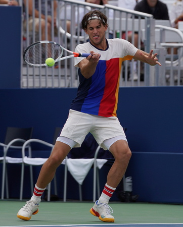 NEW YORK - SEPTEMBER 2, 2017: Professional tennis player Dominic Thiem of Austria in action during his US Open 2017 round 3 match at Billie Jean King National Tennis Center Editorial