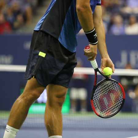 NEW YORK - SEPTEMBER 4, 2017: Professional tennis player Philipp Kohlschreiber of Germany plays with Wilson racquet during his US Open 2017 round 4 match at Billie Jean King National Tennis Center Editorial