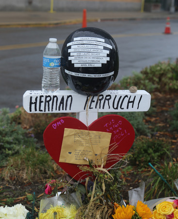 NEW YORK - NOVEMBER 5, 2017: Wooden cross tributes were placed along the bike path for each of the eight victims killed in the terror attack at makeshift memorial at site of lower Manhattan Editorial