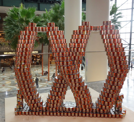 sardine can: NEW YORK - NOVEMBER 5, 2017: Food sculpture presented at 25th Annual NYC Canstruction competition in Brookfield Place in New York.  Teams build large scale sculptures out of canned food for food drive Editorial