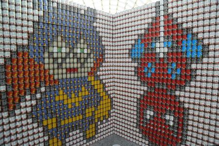 UNIONDALE, NEW YORK - NOVEMBER 9, 2017: Food sculpture presented at 11th Annual Long Island Canstruction competition in Uniondale. Teams build large scale sculptures out of canned food for food drive