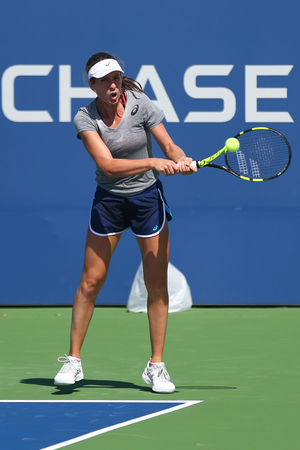 NEW YORK - AUGUST 27, 2017: Professional tennis player johanna Konta of Great Britain practices for US Open 2017 at Billie Jean King National Tennis Center in New York