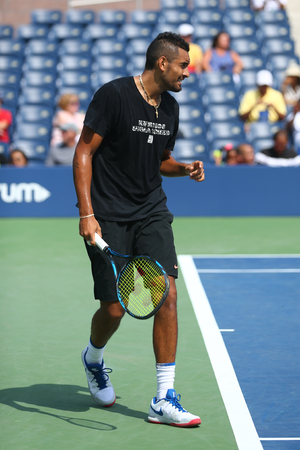 NEW YORK - AUGUST 27, 2017: Professional tennis player Nick Kyrgios of Australia practices for US Open 2017 at Billie Jean King National Tennis Center in New York