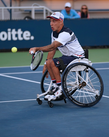 NEW YORK - SEPTEMBER 7, 2017: Wheelchair tennis player Andrew Lapthorne of Great Britain in action during his Wheelchair Quad Singles semifinal match at US Open 2017 at National Tennis Center