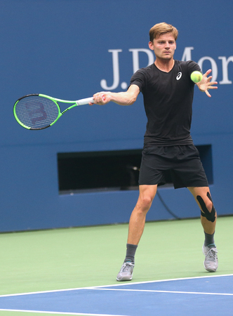 NEW YORK - AUGUST 22, 2017: Professional tennis player David Goffin of Belgium practices for US Open 2017 at Billie Jean King National Tennis Center in New York