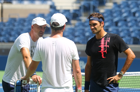 NEW YORK - AUGUST 22, 2017: Team Federer during practice for US Open 2017 at Billie Jean King National Tennis Center in New York